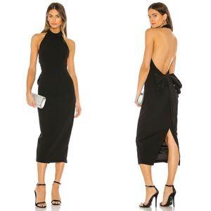 Bardot Black Jaden Bow Open Back Halter Midi Dress